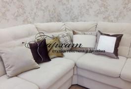 Декоративные подушки для зала с разных тканей