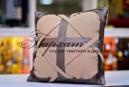 подушка лен+кожа